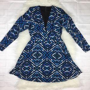 NBD x Revolve Mini Dress Small Blue Black Geo